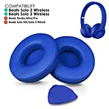 Professional Beats Solo Earpads Cushions Replacement by SoloWIT - Compatible with Beats Solo 2 & Solo 3 Wireless On-Ear Headphones with Soft Protein Leather/Strong Adhesive Tape