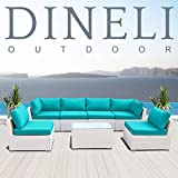 Dineli Modern 7G Cushioned Outdoor White Rattan Wicker Sofa Sectional Patio Conversation Furniture Set (Turquoise)