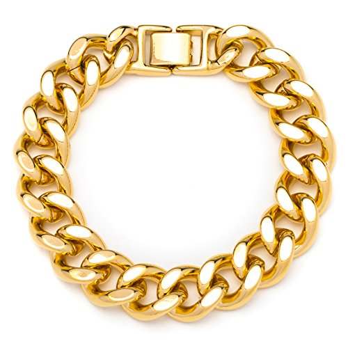 - Lifetime Jewelry Thick Cuban Link Bracelet 15MM, Round, 24K Gold Over Semi-Precious Metals, Premium Fashion Jewelry, 9 Inches