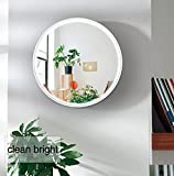 Bedroom Vanity with Lighted Mirror LED Wall Mirror, 16.7 inch Diameter Makeup Mirror,NANAMI Vanity Lighted Mirror for Bedroom with 2 Dimmer Modes by Touch Sensor(16.7 x16.7 x1.6 inches)
