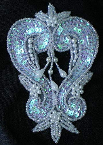 FidgetGear Applique Motif White AB Dancewear Sewing SY71 Dangles Fleur De Lis Sequin Beaded