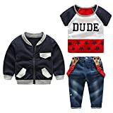 Moyikiss Studio Cotton Little Boys Casual Outfits Set Coat+Tshirt+Suspenders Denim Trousers Gentleman 3Pcs (120/5Years)