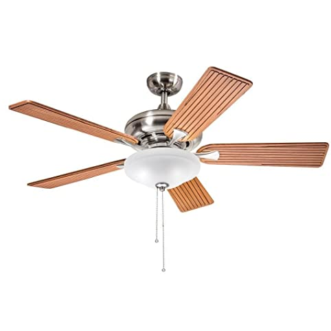 Aztec lighting kichler lighting transitional brushed nickel 52 inch ceiling fan with 2 light kit
