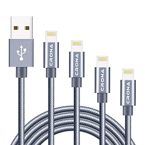 Lightning Cable  Crona Iphone Charger 4 Pack  10Ft  6Ft  3Ft  1Ft  Braid Cord Syncing