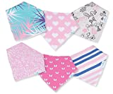 Baby Bandana Bibs for Drooling and Teething - Extra Absorbent Organic Cotton Bib for Girls by MaxamStars - 6 pack