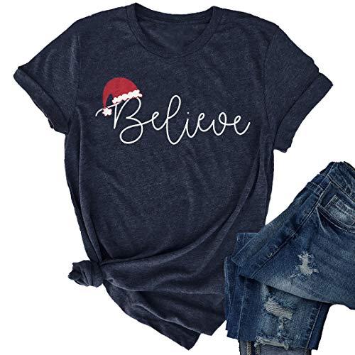 JINTING Christmas Believe Hat Shirt Cute Short Sleeve Christmas Graphic Print Tee Shirts Tops for Women Blue