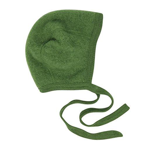 Newborn Baby Bonnet Hat with Ties, Organic Merino Wool Fleece (62-68 / 3-6 months, Green)