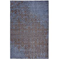 Mylife Rugs Bergamo Collection Contemporary Modern Non Slip (Non-Skid) Machine Washable Abstract Area Rug (3x5, Blue - Brown)