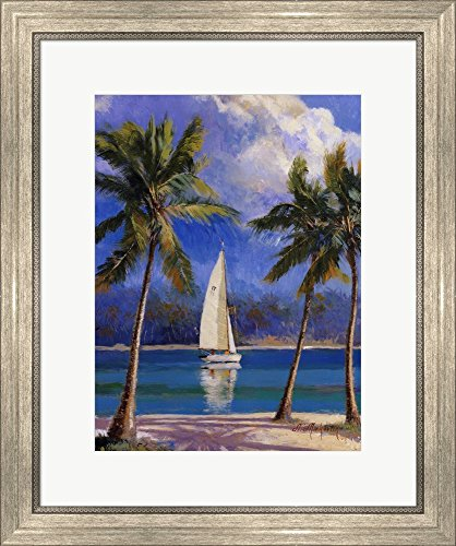 Island Breeze by Nenad Mirkovich Framed Art Print Wall Picture, Silver Scoop Frame, 20 x 24 ()