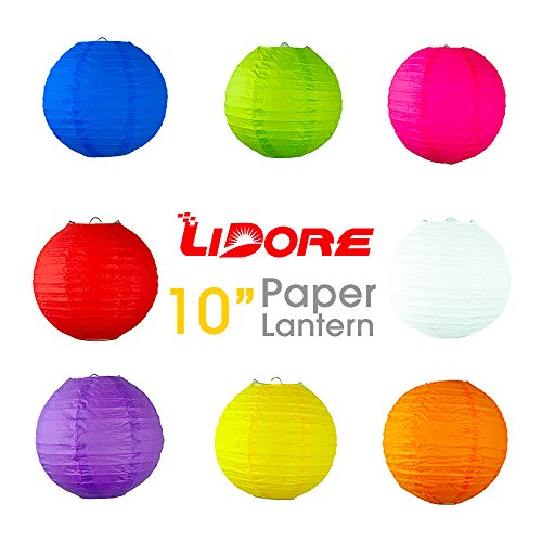 10 Inch Assorted Multi Color Chinese Janpanese Paper Lantern by LIDORE New Year Valentine's Day Decoration 8 Pack
