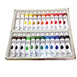 4 Less Co 24 Acrylic Paints, 1 Wood Palette with 12