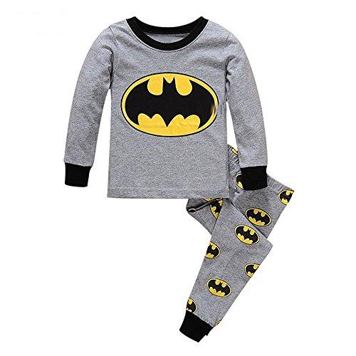 Meteora Boys Dinosaur Pajamas 2 Piece Set Long Sleeve Sleepwear 100% Cotton 2-7T (Batman, 3T)