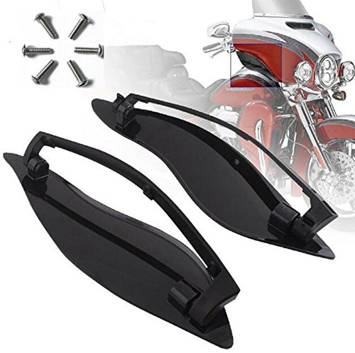 Black ABS Adjustable Side Wings Air Deflectors Fairing Side Cover Shield For Harley Davidson Touring Glide FL 2014-2017 15 16