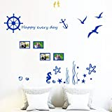 interesting bedroom wall decals Blue Ocean Sea Gull Wall Decals Frame Landscape Photo Happy Wall Stickers Vinyl Peel & Stick Mural Art Wallpaper Kids Children Baby Family Bedroom Living Room Nursery Room School Home (Sea Gull)