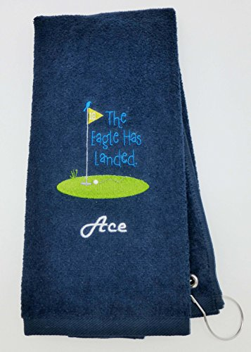 Mana Trading Custom Personalized Embroidered Golf Towel The Eagle HAS Landed (Navy Blue)