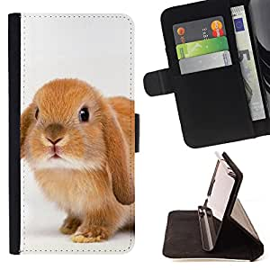 Super Marley Shop - Leather Foilo Wallet Cover Case with Magnetic Closure FOR LG OPTIMUS L90- Rabbit Cute