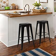 Best Choice Products® Metal Bar Stools Set of 2 Vintage Antique Style Counter Bar Stool Modern French-Black
