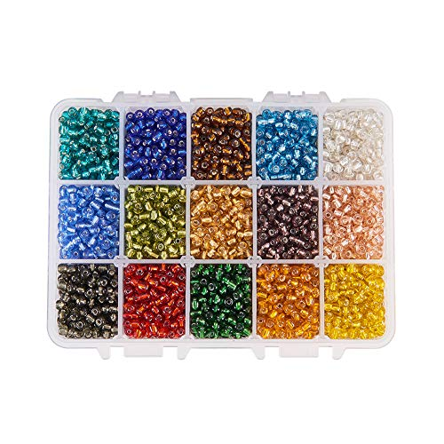 - PH PandaHall About 220pcs 15 Color 6/0 Glass Seed Beads 4mm Silver Lined Beads with Container Box for Jewelry Making