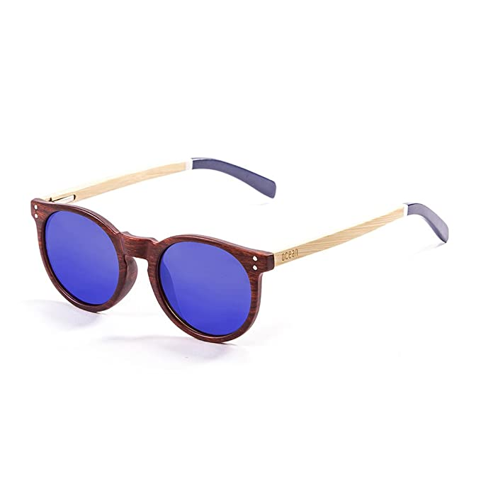 OCEAN SUNGLASSES Lizard Lunettes de Soleil Mixte Adulte, Bamboo Brown Frame/Wood Natural White/Blue Arms/Revo Blue Lens