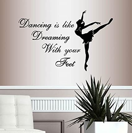 Ballet Gymnast Dancer Girls Wall Stickers Wall Say Quote Lettering Art Vinyl Sticker Home Decoration Girl Bedroom Decor Decals Home Decor
