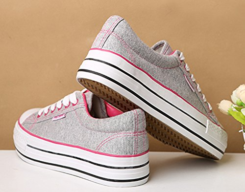 Aisun Gray up Trendy Platform Women's Sneakers Canvas Lace pqxP8rSBwq