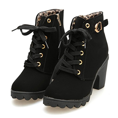Price comparison product image HOT Sale , AIMTOPPY Womens Fashion High Heel Lace Up Ankle Boots Ladies Buckle Platform Shoes (US 5.5,  Black)