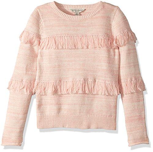 Lucky Brand Girls' Little Sweater LU Gossamer Pink Fringe, 5 by Lucky Brand