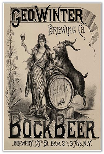 Bock Beer Brewery Advertisement - George Winter Brewing Co. New York circa 1900 - measures 24