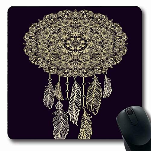 Tobesonne Mousepads Arabesque Ornamental Dream Catcher Feathers On Dark Turkish American Batik Christmas Decoupage Drawn Oblong Shape 7.9 x 9.5 Inches Non-Slip Gaming Mouse Pad Rubber Oblong Mat