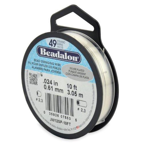 Beadalon Stringing Wire 49-Strand .024-Inch (.61-Millimeter) Diameter 10-Feet/Pkg, Silver Plated
