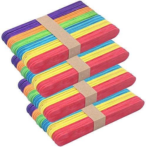 Z Zicome Jumbo Colored Craft Sticks - 6 Inch - 200 Pack - Ideal for Crafters, Teachers, and Students