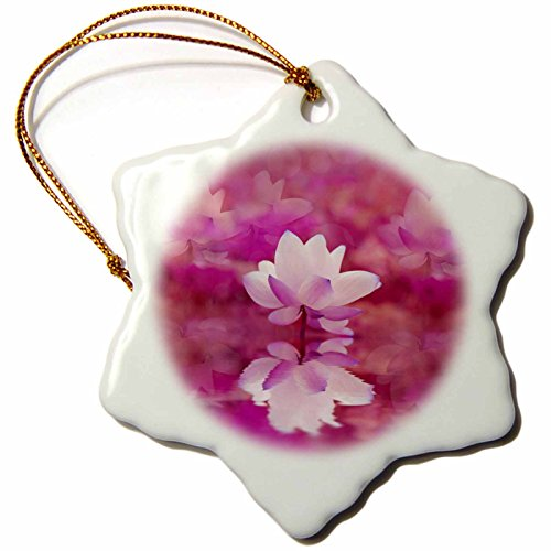 3dRose Andrea Haase Art Illustration - Lotus flower Reflecting In Water In Pink Colors - 3 inch Snowflake Porcelain Ornament (orn_268516_1) by 3dRose