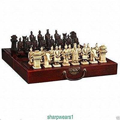 Pasuk2788 New Chinese Wood Leather box Dragon Chess with 32 Game Set
