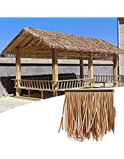 Simulated Thatch Artificial Thatch Used for Outdoor Gazebo Umbrella Bar Hut Retro Decoration Tile Palm Thatch Roll, 5 Colors (Color : YellowB-6pcs, Size : 50x50cm)