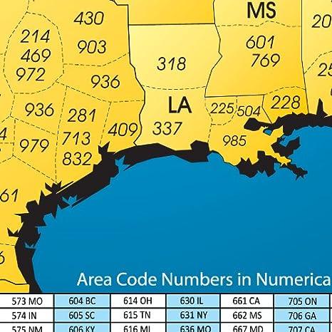 Amazoncom North America Laminated Gloss Full Color Time Zone - Area code 972 usa