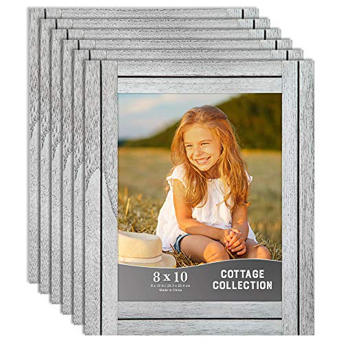 Icona Bay 8x10 Picture Frames, Rustic Picture Frame Set, Natural Real Wood Frames, Set of 6 Cottage Collection (6 Pack, Farmhouse White) (Frames White Wall Distressed)
