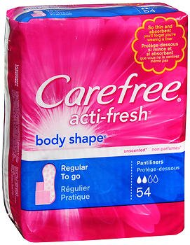 Carefree Acti-Fresh Body Shape Regular To Go Pantiliners - 54 Liners, Pack of 4, 216 Total