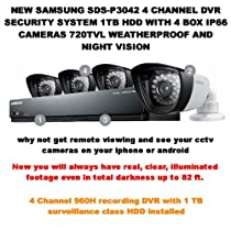 SS300 - SAMSUNG SDS-P3042 4 CHANNEL DVR SECURITY SYSTEM 1TB HDD WITH 4 BOX IP66 CAMERAS 720TVL WEATHERPROOF AND NIGHT VISION