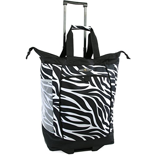 (Pacific Coast Signature Large Rolling Shopper Tote Bag, Zebra)