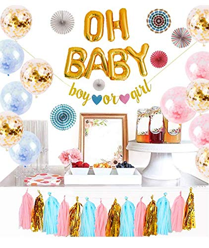 (Logui Gender Reveal Party Supplies Set   Gender Reveal Decorations W/Foil Gold Oh Baby Balloon, Latex Balloons, Paper Fans, Blue, Pink, Gold Tassel and Banner. Gender Neutral Baby Shower Decorations)
