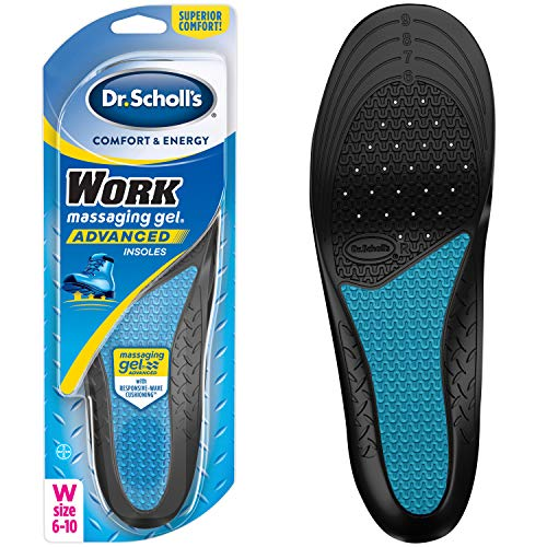 Dr. Scholl's WORK Massaging Gel Advanced Insoles (Women's 6-10) // All-Day Shock Absorption and Cushioning for Hard Surfaces (Packaging May Vary) (Best Shoe Insoles For Standing On Concrete)