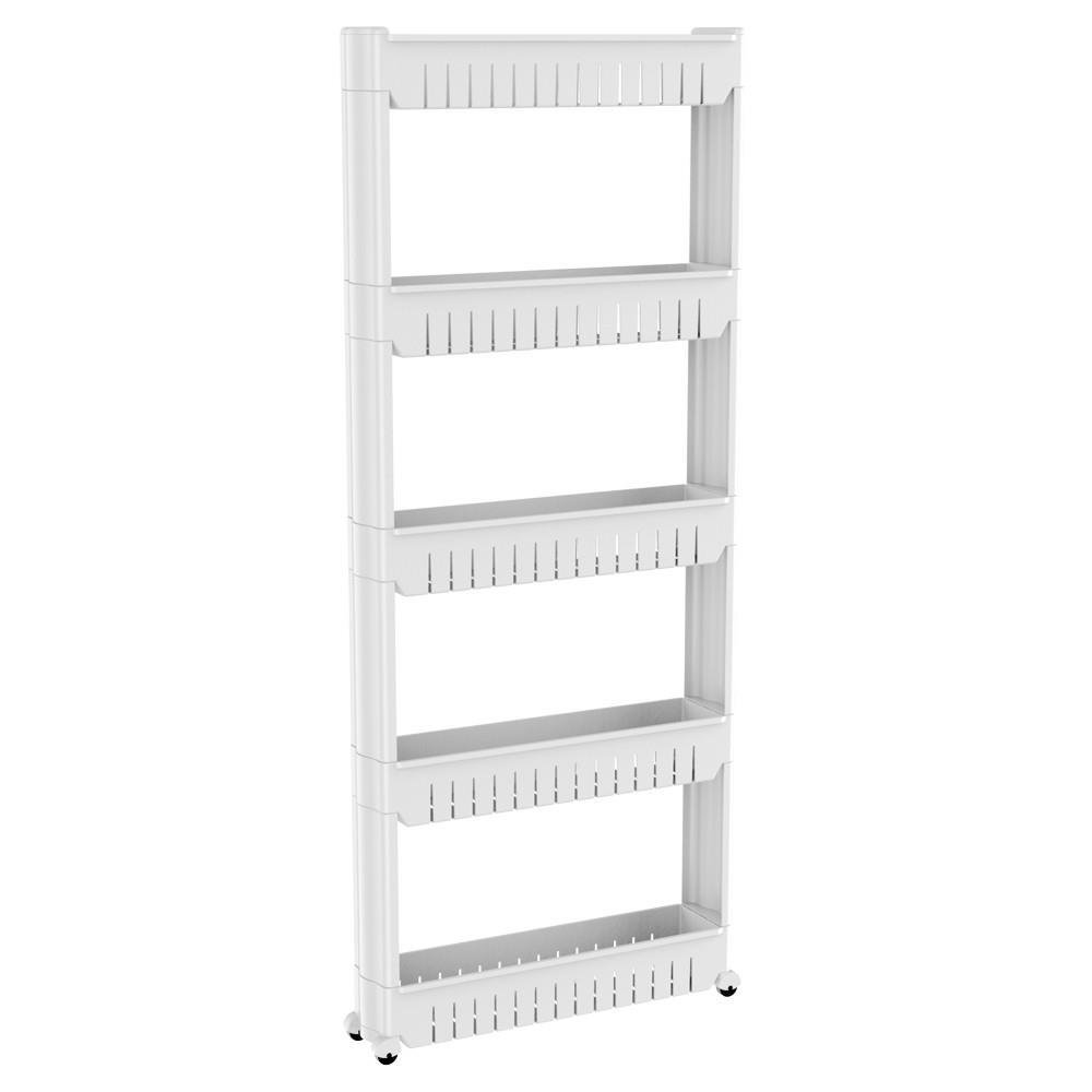 Yaheetech 3 Tier Mobile Shelving Unit Slim Slide-Out Storage Tower Cabinet with Wheels Narrow Places Organizer