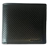 COACH Compact ID Wallet in Perforated Calf Leather in Black 75197