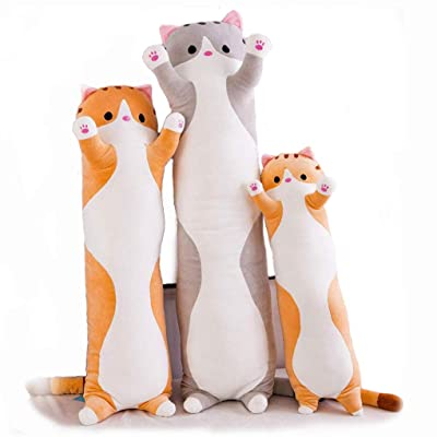 Sameno Toys Sleeping Cat Pillow cat Plush Toy Cute Doll Lovely Pillow Soft Bedroom 123Arts Cartoon Cat Soft Plush Long Throw Pillow Lifelike Animal Pillows Plush Toy: Toys & Games