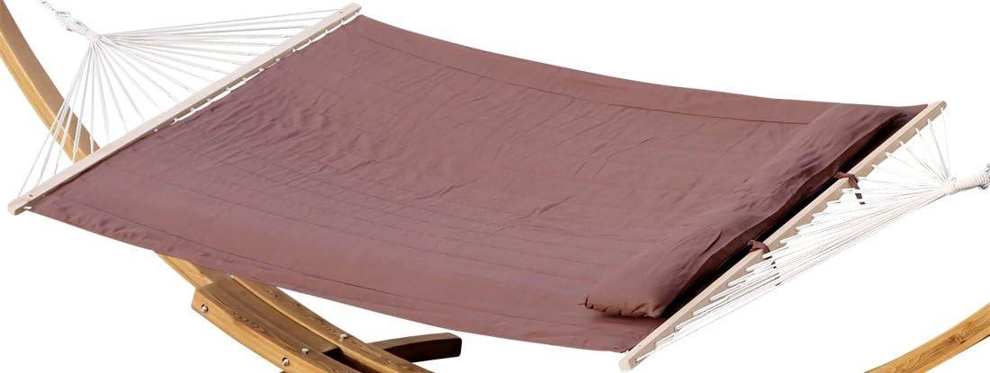 ASS Design Hamaca 150x200 rellena de Almohada de algodón MARRÓN ...