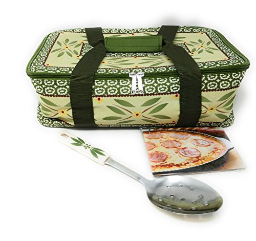 """Temp-tations Insulated Tote Bag ONLY (NO DISH) for the 11""""x7"""" 2.5 Quart Baker, w/Serving Spoon & Recipe Cards (Old World Green)"""