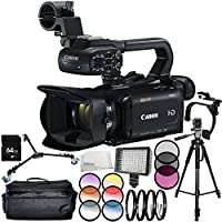 Canon XA11 Compact Full HD Camcorder 11PC Accessory Bundle – Includes 64GB SD Memory Card + 3PC Filter Kit (UV + CPL + FLD) + MORE - International Version (No Warranty)