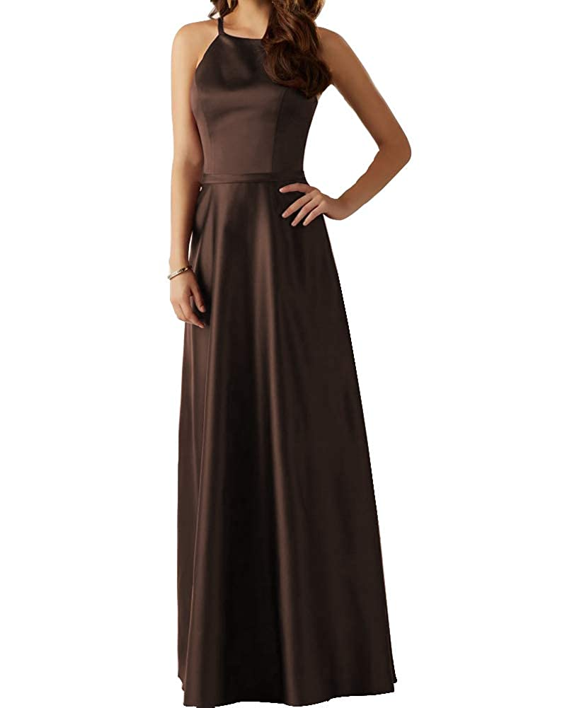 Brown Stylefun Women's Long Satin Bridesmaid Dress Evening Gown A Line Prom Party Dress BD88017