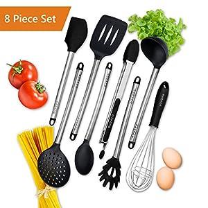 Christmas Gift 2017 Gudaco Premium Kitchen Utensils Italian Style 8 Piece Black  Silicone Stainless Steel Kit: Serving Tongs, Spoon, Spatula Tools, ...