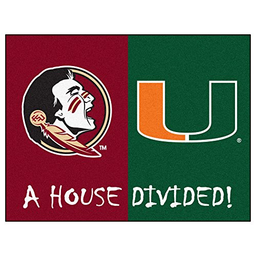 Florida State House Divided (House Divided Area Rug Miami Hurricanes - Florida State Seminoles)